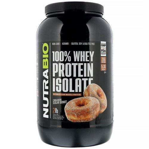 NutraBio Labs, 100% Whey Protein Isolate, Cinnamon Sugar Donut, 2 lb (907 g) Review