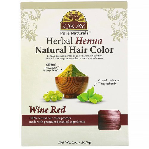 Okay, Herbal Henna Natural Hair Color, Wine Red, 2 oz (56.7 g) Review