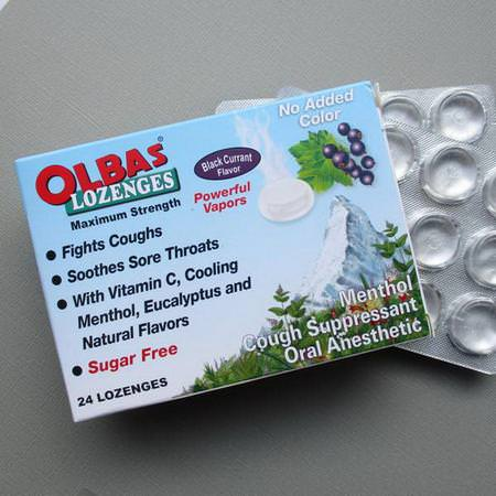 流感, 咳嗽: Olbas Therapeutic, Olbas Lozenges, Sugar Free, Black Currant Flavor, 24 Lozenges