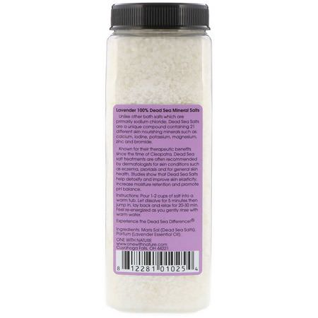 礦物質浴, 油: One with Nature, Dead Sea Mineral Salts, Relaxing, Lavender, 2 lbs (907 g)