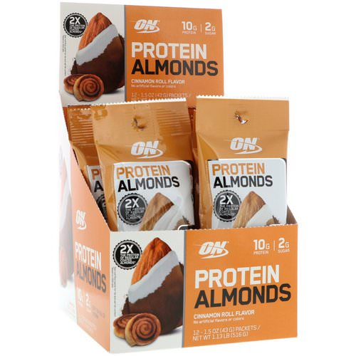 Optimum Nutrition, Protein Almonds, Cinnamon Roll, 12 Packets, 1.5 oz (43 g) Each Review