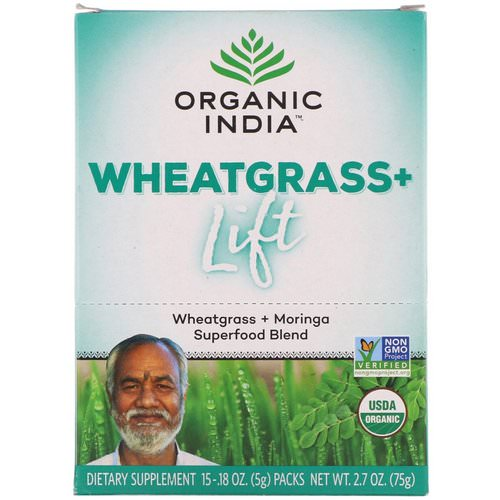 Organic India, Wheatgrass+ Lift, Superfood Blend, 15 Packs, 0.18 oz (5 g) Each Review