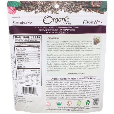 可可, 超級食品: Organic Traditions, Cacao Nibs, 8 oz (227 g)