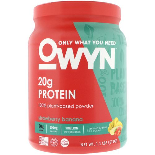OWYN, Protein, 100% Plant-Based Powder, Strawberry Banana, 1.1 lbs (512 g) Review