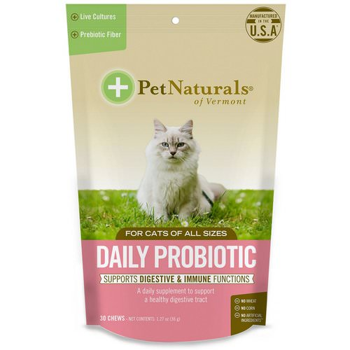 Pet Naturals of Vermont, Daily Probiotic, For Cats, 30 Chews, 1.27 oz (36 g) Review