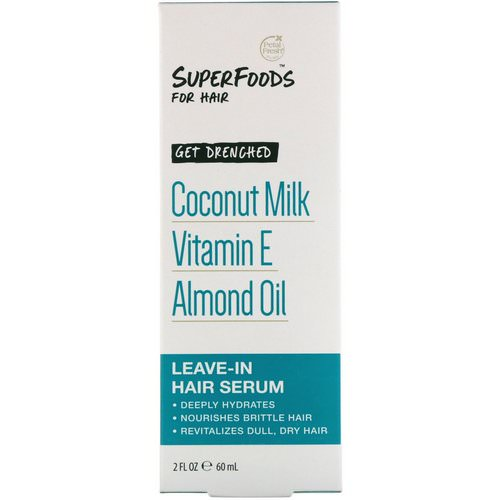 Petal Fresh, Pure, SuperFoods for Hair, Get Drenched Leave-In Hair Serum, Coconut Milk, Vitamin E & Almond Oil, 2 fl oz (60 ml) Review