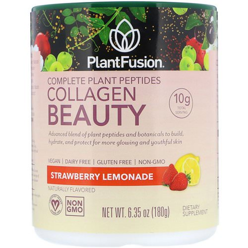 PlantFusion, Complete Plant Peptides, Collagen Beauty, Strawberry Lemonade, 6.35 oz (180 g) Review