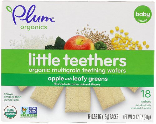 Plum Organics, Little Teethers, Organic Multigrain Teething Wafers, Apple with Leafy Greens, 6 Packs, 0.52 oz (15 g) Each Review