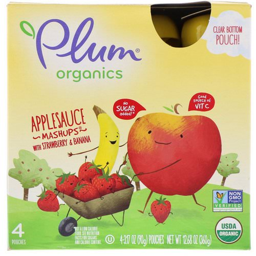 Plum Organics, Organic Applesauce Mashups with Strawberry & Banana, 4 Pouches, 3.17 oz (90 g) Each Review