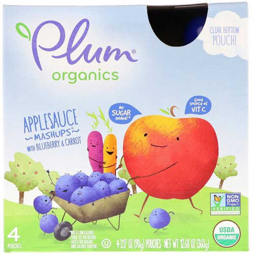 Plum Organics, Organics, Applesauce Mashups with Blueberry & Carrot, 4 Pouches, 3.17 oz (90 g) Each Review