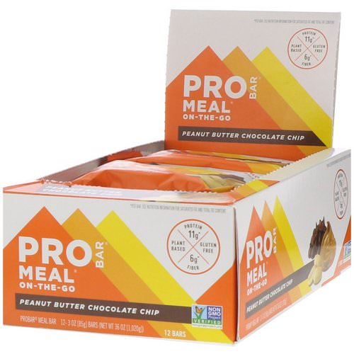 ProBar, Protein Bar, Meal, Peanut Butter Chocolate Chip, 12 Bars, 3 oz (85 g) Each Review