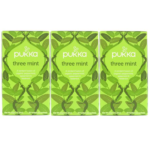 Pukka Herbs, Three Mint, Caffeine Free, 3 Pack, 20 Herbal Tea Sachets Each Review