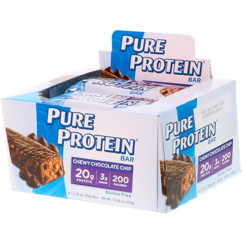 Pure Protein, Chew Chocolate Chip Bar, 6 Bars, 1.76 oz (50 g) Each Review