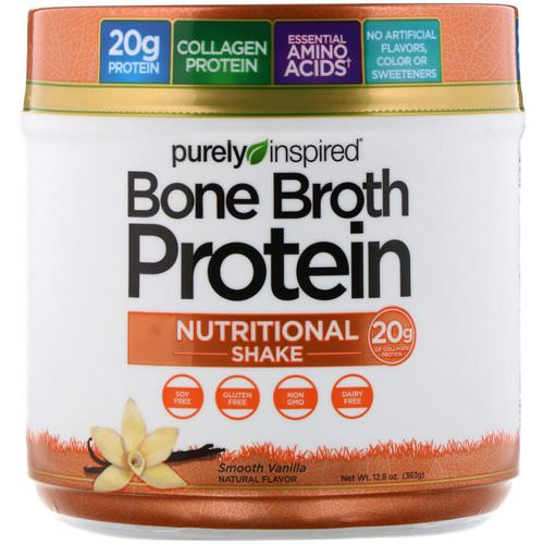 Purely Inspired, Bone Broth Protein Nutritional Shake, Smooth Vanilla, 12.8 oz (363 g) Review