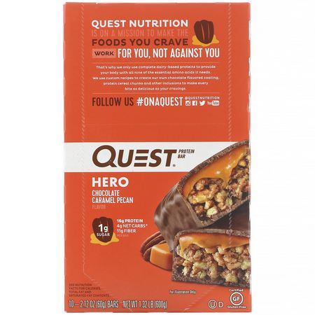 乳清蛋白棒, 牛奶蛋白棒: Quest Nutrition, Hero Protein Bar, Chocolate Caramel Pecan, 10 Bars, 2.12 oz (60 g) Each