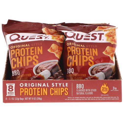 Quest Nutrition, Original Style Protein Chips, BBQ, 8 Pack, 1.1 oz (32 g) Each Review