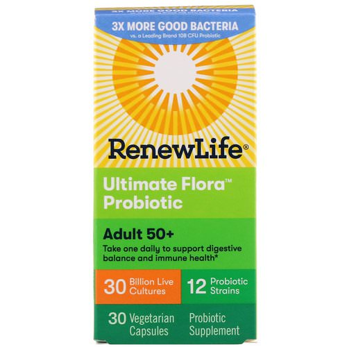 Renew Life, Adult 50+, Ultimate Flora Probiotic, 30 Billion Live Cultures, 30 Vegetable Capsules Review
