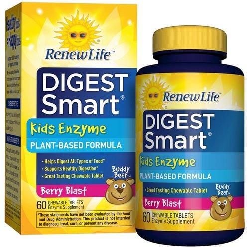 Renew Life, Digest Smart, Kids Enzyme, Berry Blast, 60 Chewable Tablets Review