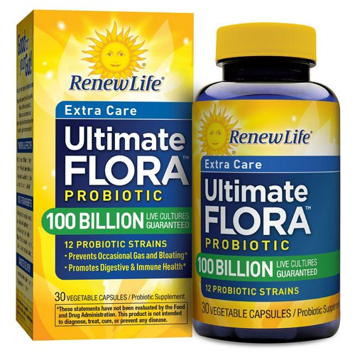 Renew Life, Extra Care, Ultimate Flora Probiotic, 100 Billion Live Cultures, 30 Vegetable Capsules Review