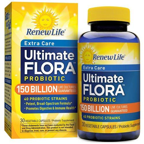 Renew Life, Extra Care, Ultimate Flora Probiotic, 150 Billion Live Cultures, 30 Vegetable Capsules Review