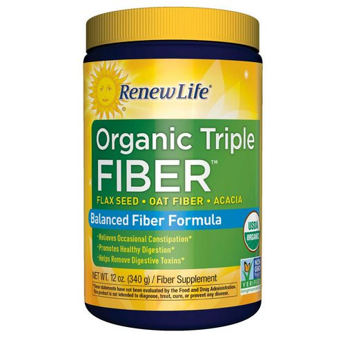 Renew Life, Organic Triple Fiber, Balanced Fiber Formula, 12 oz (340 g) Review