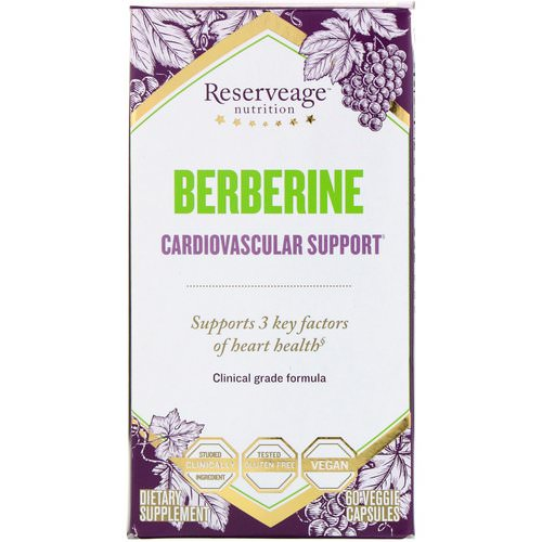 ReserveAge Nutrition, Berberine, Cardiovascular Support, 60 Veggie Capsules Review