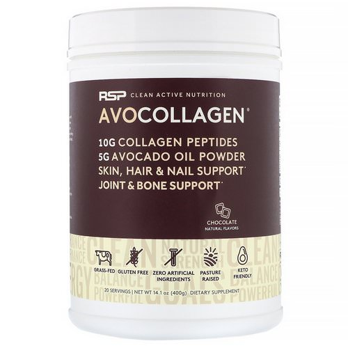 RSP Nutrition, AvoCollagen, Collagen Peptides & Avocado Oil Powder, Chocolate, 14.1 oz (400 g) Review
