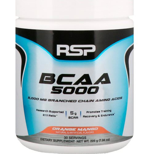 RSP Nutrition, BCAA 5000, Orange Mango, 5,000 mg, 7.94 oz (225 g) Review