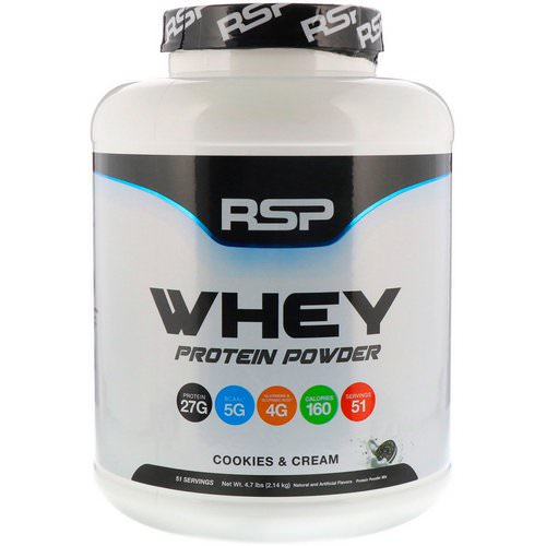 RSP Nutrition, Whey Protein Powder, Cookies and Cream, 4.7 lbs (2.14 kg) Review