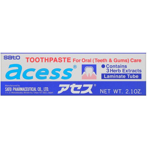 Sato, Acess, Toothpaste for Oral Care, 2.1 oz (60 g) Review