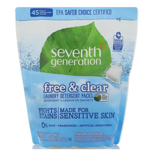 Seventh Generation, Laundry Detergent Packs, Free & Clear, 45 Packs, 31.7 oz (900 g) Review