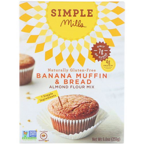 Simple Mills, Naturally Gluten-Free, Almond Flour Mix, Banana Muffin & Bread, 9 oz (255 g) Review