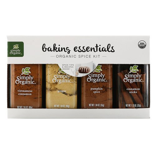 Simply Organic, Baking Essentials, Organic Spice Kit, Variety Pack, 4 Spices Review