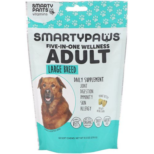 SmartyPants, SmartyPaws, Five-In-One Wellness, Adult, Large Breed, 60 Soft Chews Review