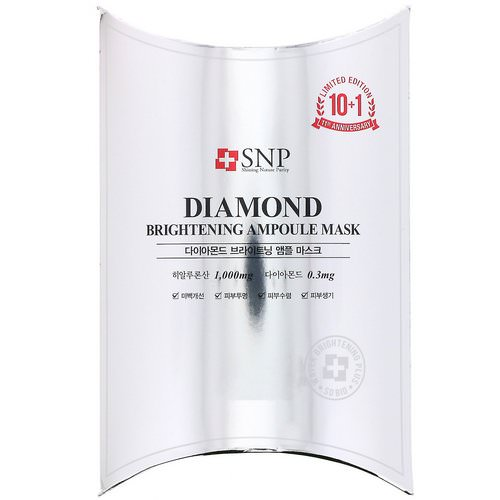 SNP, Diamond Brightening Ampoule Mask, 10 Sheets, 0.84 fl oz (25 ml) Each Review