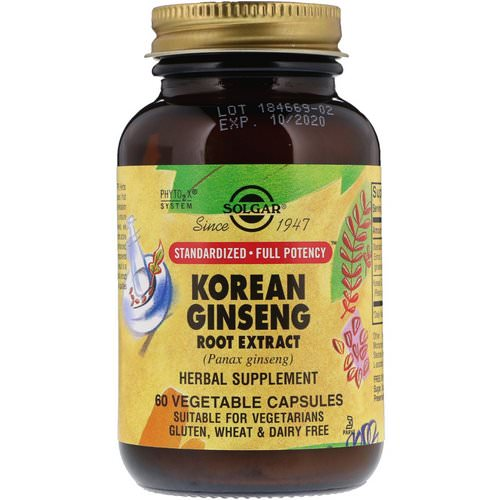 Solgar, Korean Ginseng Root Extract, 60 Vegetable Capsules Review