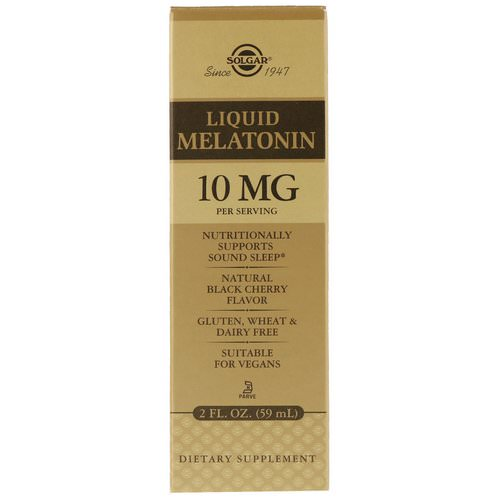 Solgar, Liquid Melatonin, Natural Black Cherry Flavor, 10 mg, 2 fl oz (59 ml) Review