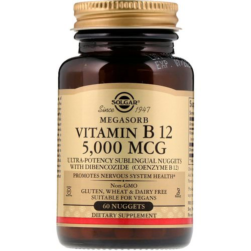 Solgar, Sublingual Vitamin B12, 5,000 mcg, 60 Nuggets Review