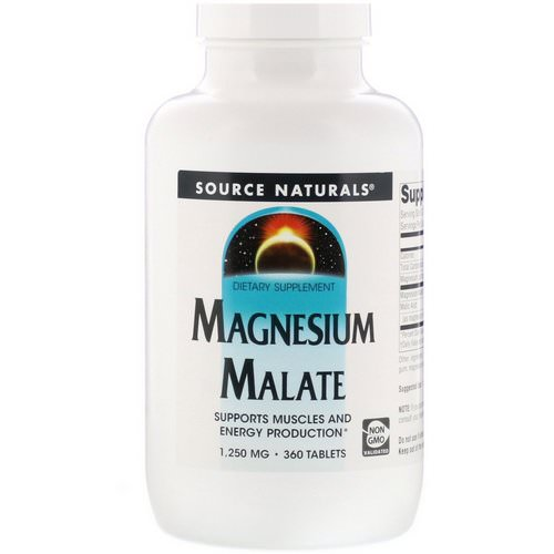 Source Naturals, Magnesium Malate, 1,250 mg, 360 Tablets Review