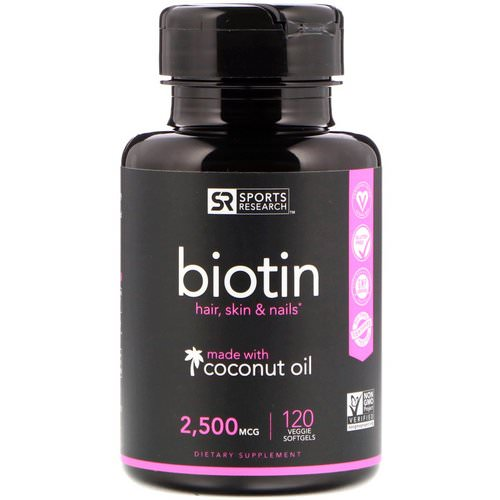 Sports Research, Biotin with Coconut Oil, 2,500 mcg, 120 Veggie Softgels Review