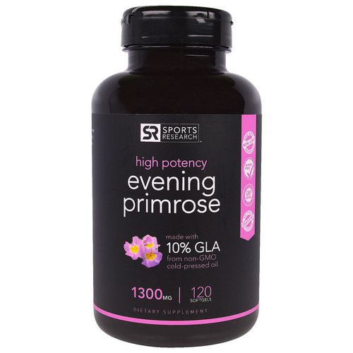 Sports Research, Evening Primrose Oil, 1300 mg, 120 Softgels Review
