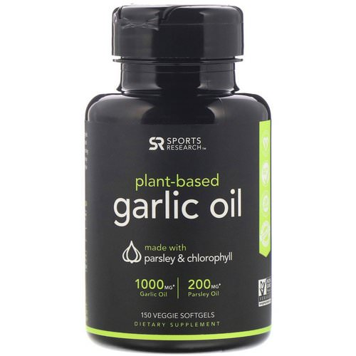 Sports Research, Plant-Based, Garlic Oil with Parsley & Chlorophyll, 150 Veggie Softgels Review