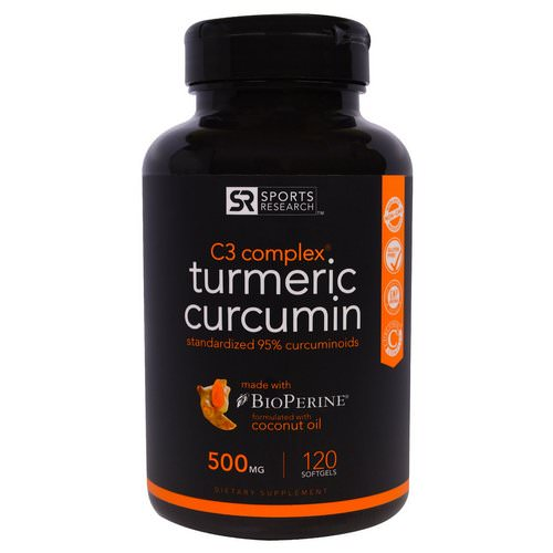 Sports Research, Turmeric Curcumin, C3 Complex, 500 mg, 120 Softgels Review