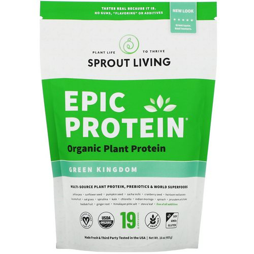 Sprout Living, Epic Organic Plant Protein, Green Kingdom, 16 oz (455 g) Review