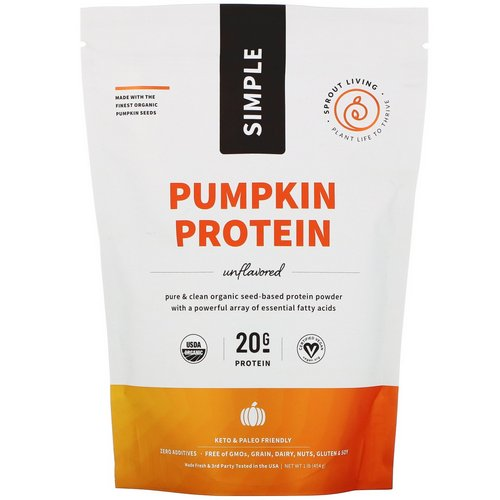 Sprout Living, Simple, Pumpkin Protein, Unflavored, 1 lb (454 g) Review