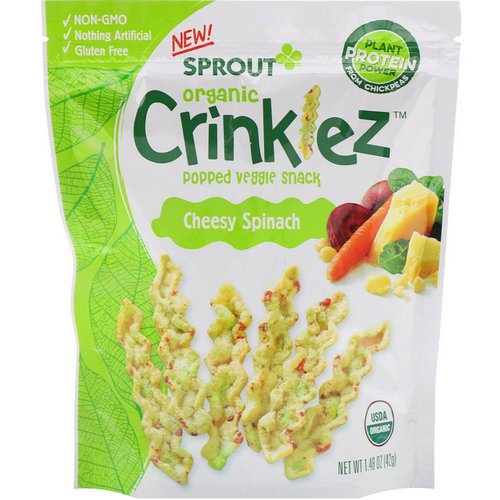 Sprout Organic, Crinklez, Popped Veggie Snack, Cheesy Spinach, 1.48 oz (42 g) Review
