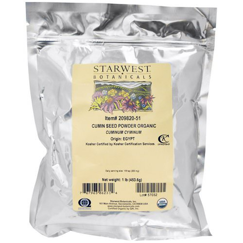 Starwest Botanicals, Organic Cumin Seed Powder, 1 lb (453.6 g) Review