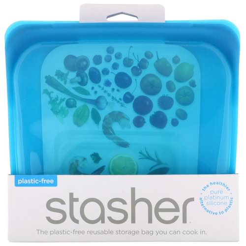 Stasher, Reusable Silicone Food Bag, Sandwich Size Medium, Blueberry, 15 fl oz (450 ml) Review