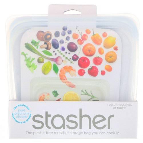 Stasher, Reusable Silicone Food Bag, Sandwich Size Medium, Clear, 15 fl oz (450 ml) Review