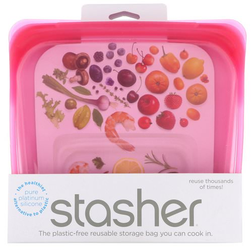 Stasher, Reusable Silicone Food Bag, Sandwich Size Medium, Raspberry, 15 fl oz (450 ml) Review